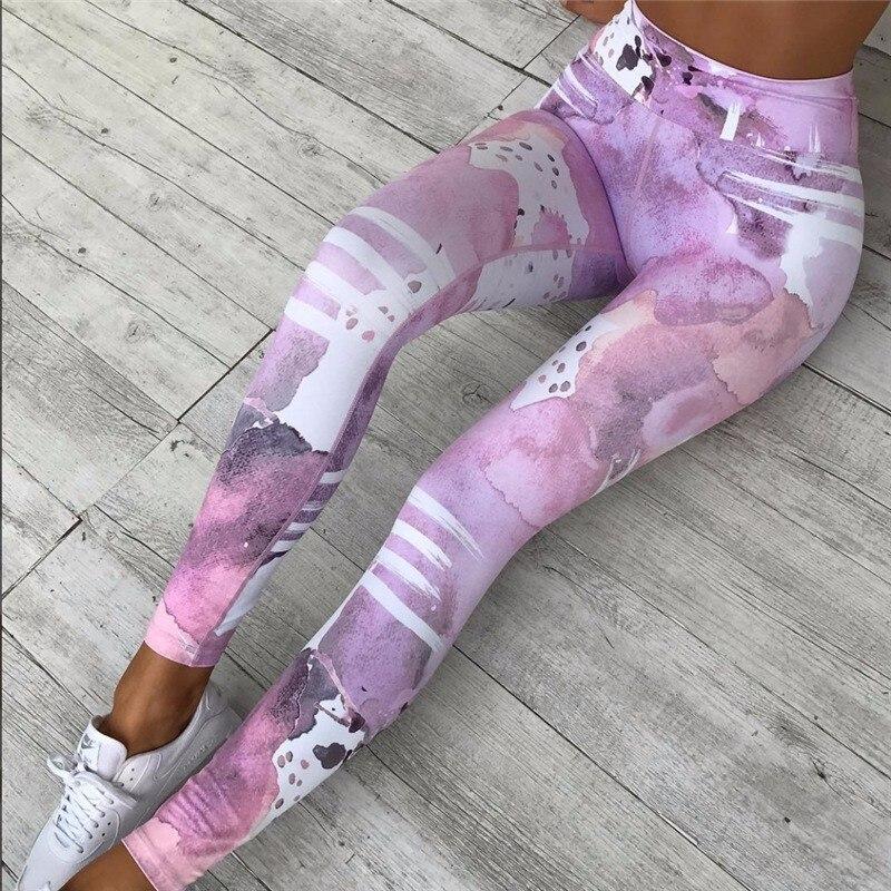 Принт спортивные Леггинсы Для женщин Фитнес Костюмы Высокая Талия тренировки брюки эластичная быстросохнущая Activewear Леггинсы Sportings женский