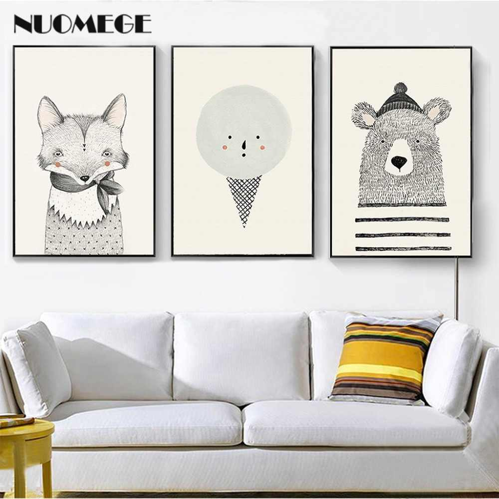 NUOMEGE Nordic Style Bear Fox Canvas Painting Cartoon Animal Poster Wall Art Picture Print for Children Room Decoration