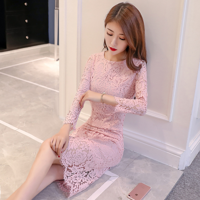 2018 Spring Women S Long Style Dress Korean Las Slim O Neck Full Sleeves Natural