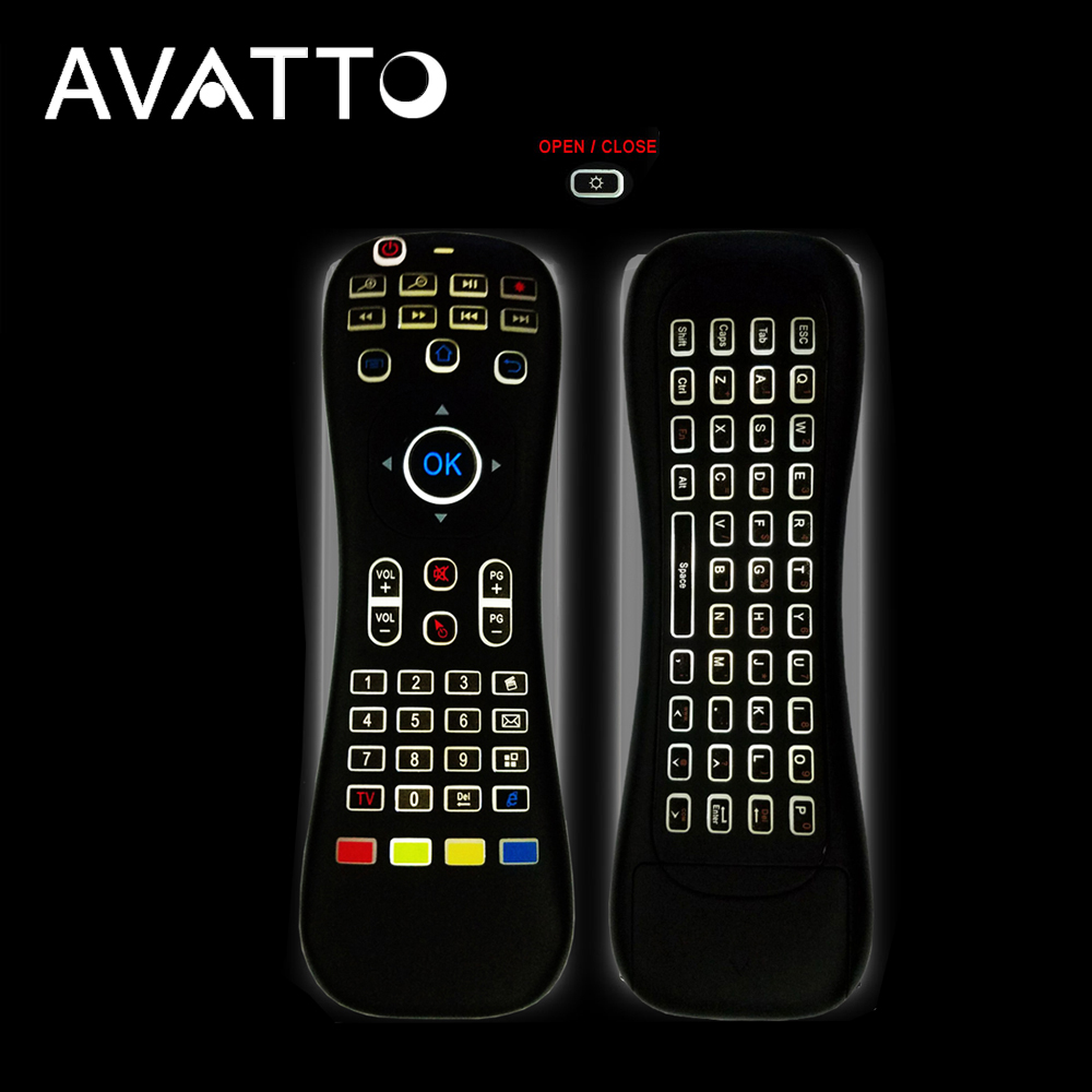 [AVATTO] MK3 Backlit Micphone Air Mouse 2.4G Wireless IR Learning Voice Remote Control mini Keyboard For Smart tv/Android Box/PC