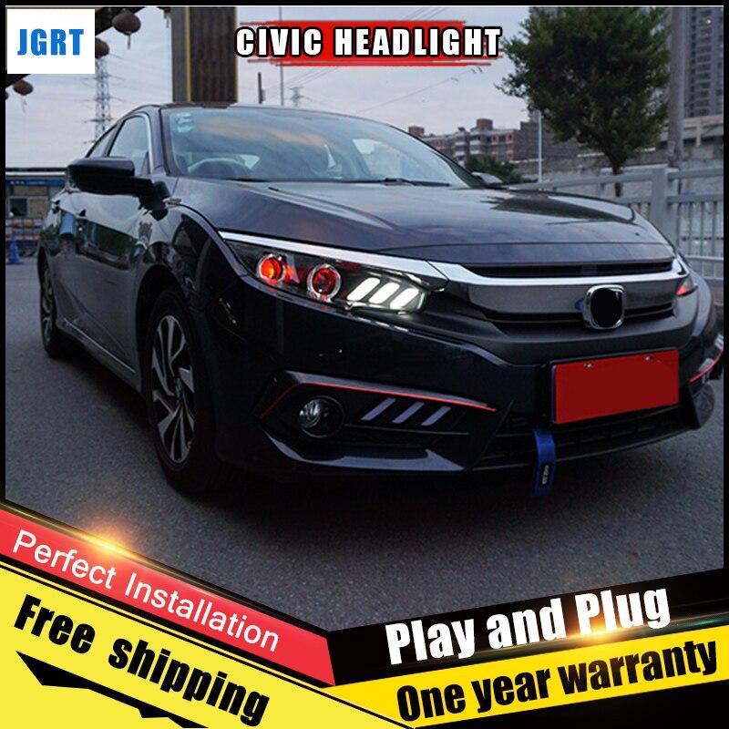 2 шт. автомобиля Стиль светодиодный фары для Honda Civic 2016-2017 для Civic фары объектив двойной луч H7 ксеноновые bi xenon объектива