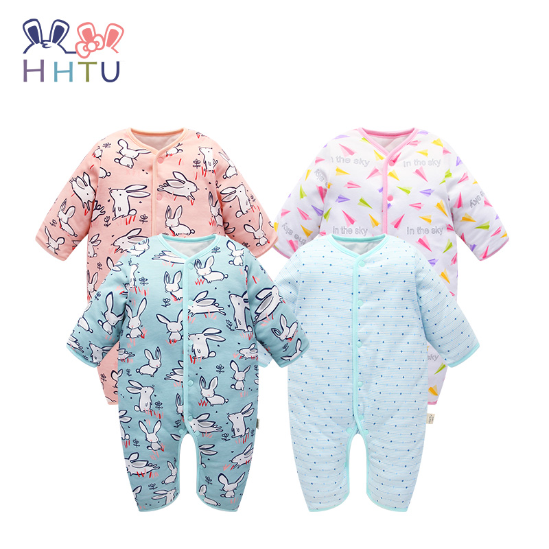 HHTU 2017 Baby Boys Girls Rompers Newborn Keep Warm Quilted Cotton Autumn Winter Thickening Infants Jumpsuits Boneless Sewing hhtu brand baby rompers boys girls clothing quilted long sleeve jumpsuits newborn clothes boneless sewing children cotton winter