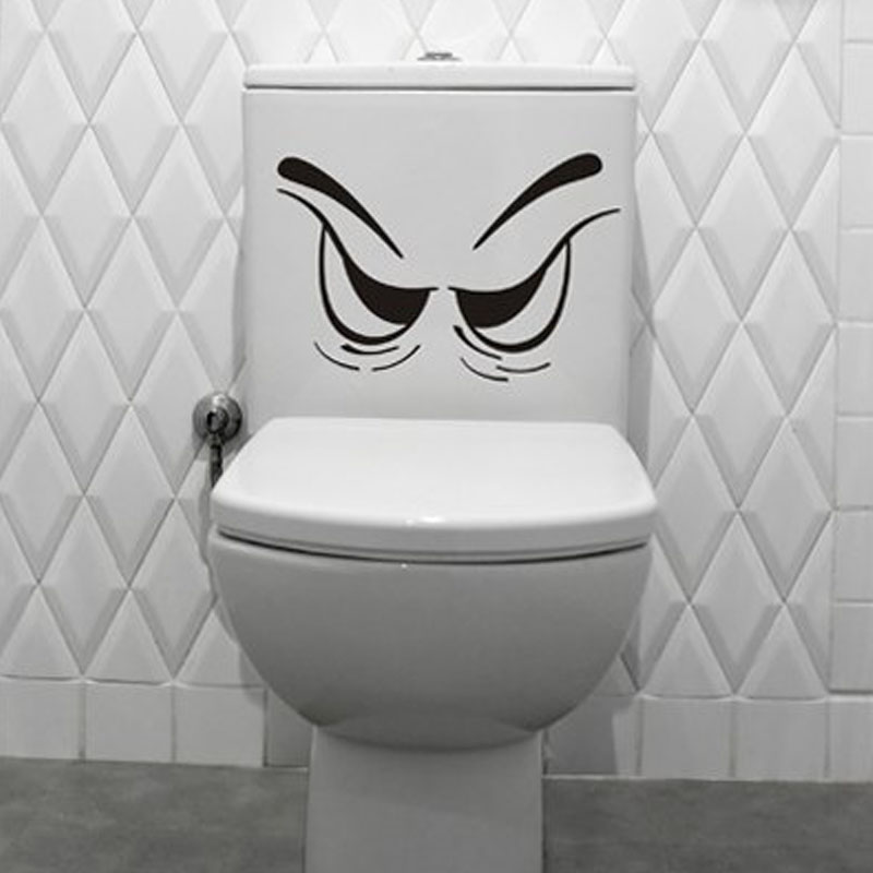 Ванная комната украшения сердитое лицо виниловые наклейки на стены сливного бачка стены искусства наклейки съемный водонепроницаемый