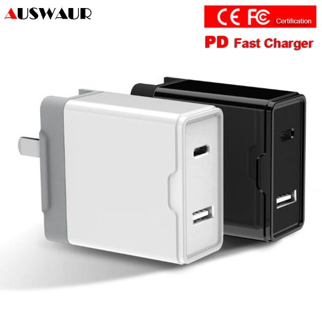 new product 4d8d1 df3ad US $11.99 |Dual Port PD Quick Fast Charger USB Type C Travel Wall Charger  for iPhone 8 Plus X XS MAX IPAD MACBOOK 30W-in Mobile Phone Chargers from  ...