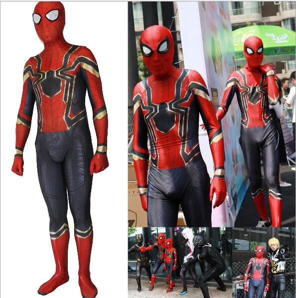 huang Spiderman homecoming Cosplay Costume Zentai Iron Spider Man Superhero Bodysuit Suit Jumpsuits