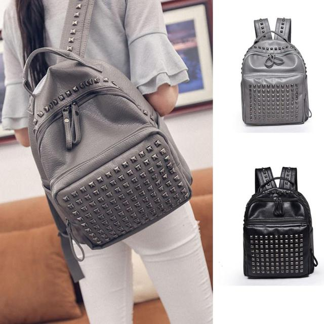 64aa4821178 Molave Backpack Women Girl Rivet Leather School Bag Travel Backpack Satchel  Women Shoulder Rucksack JAN28