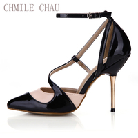 CHMILE CHAU Sexy Party Shoes Women Pointed Toe Metal Stiletto High Heels Ankle Strap Ladies Pumps Zapatos De Mujer 3845D 4a