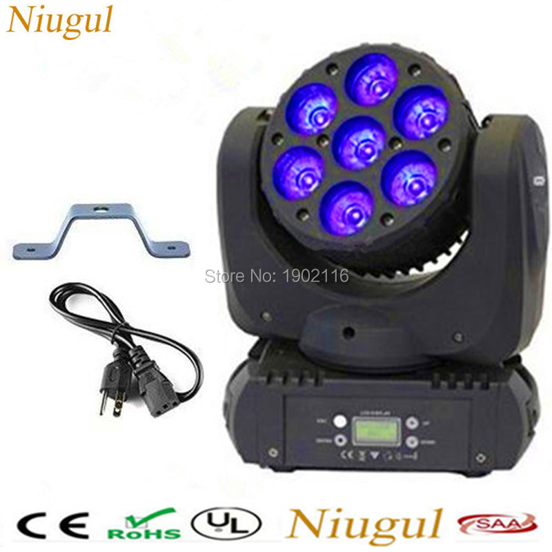 Free shipping LED beam Moving Head light/7x12W RGBW 4in1 DMX512 LED WASH Beam stage effect Lighting/dj disco party show project  4xlot free shipping mini led spider light 8x3w 4in1 rgbw moving head light dj disco dmx party ktv home stage beam effect lights