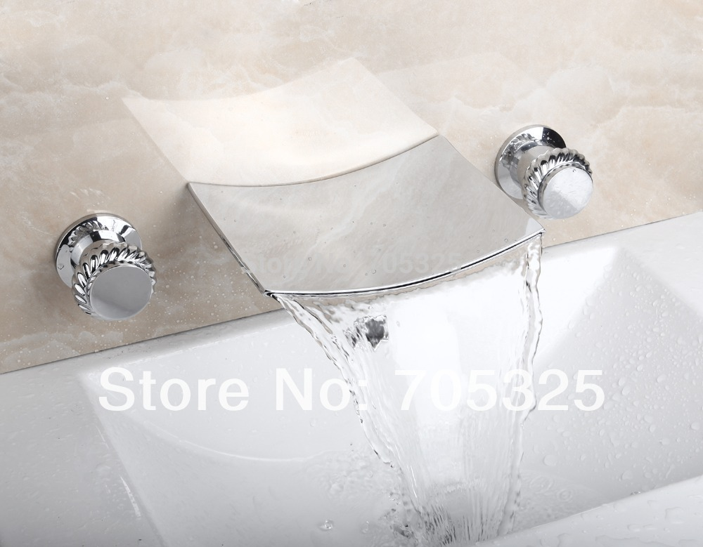 Unique  3PCS  Bathtub Ceramic  Double Handles  Deck Mounted   Chrome Polish Bathroom Basin & Sink Mixer Tap Faucet L-1257 engraved faux gem oval finger ring set