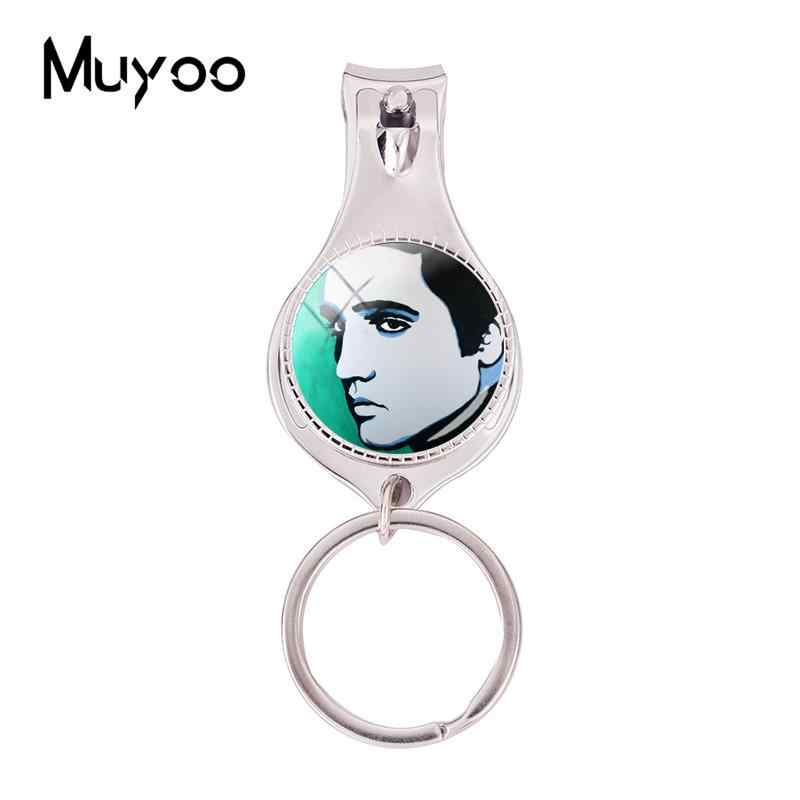 2018 Fashion Elvis Presley Art Works Paintings Multifunctional Keychain Rock Singer Nail Clipper Keyring Silver Glass Jewelry
