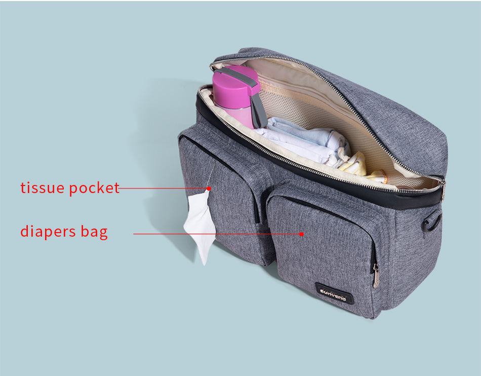 SUNVENO sac à couches pour bébé sac à couches organisateur de poussette sac de bébé maman voyage suspendu landau Buggy chariot bouteille sac - 3