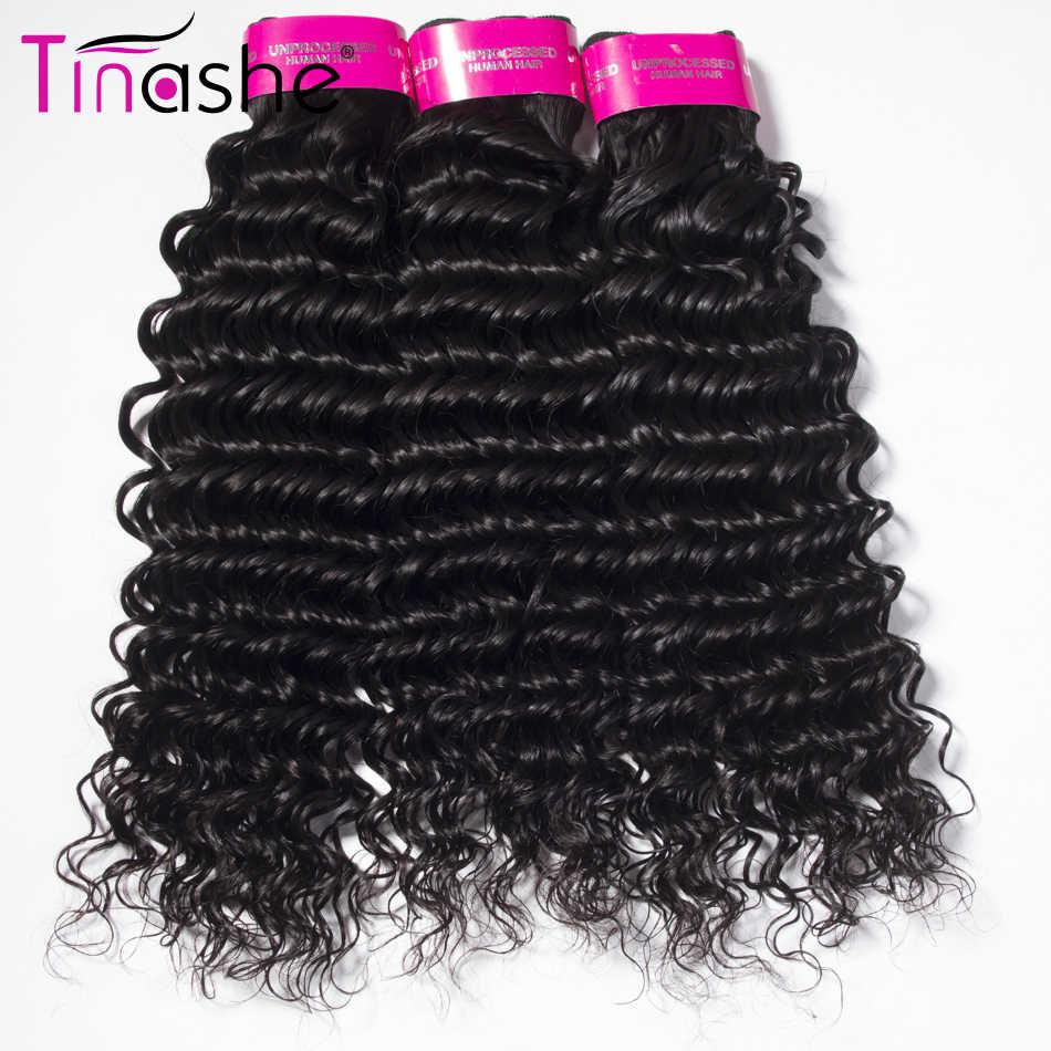 Tinashe волосы глубокая волна пучки с бразильские волосы с закрытием пучки переплетения с закрытием Remy человеческие волосы 3 пучка с закрытием