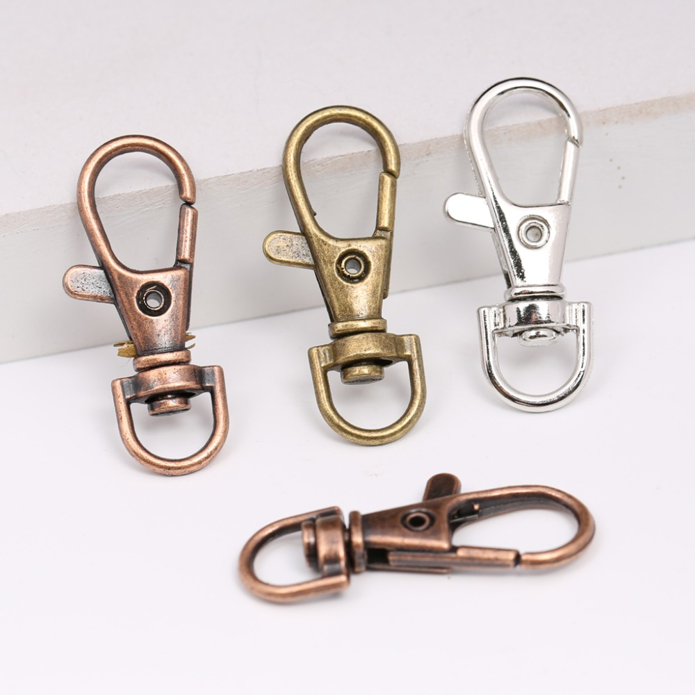 reidgaller 20pcs red copper swivel lobster clasp keychain diy hook clasps for key chain making