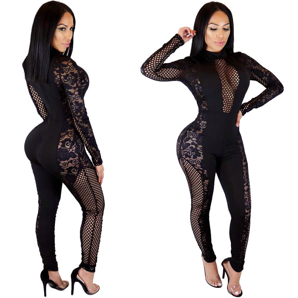 New Style  Summer 2018 Romper Playsuit O-Neck Long Sleevel Bodycon Black Rompers Womens Sexy Lace Mesh Patchwork Slim Jumpsuit