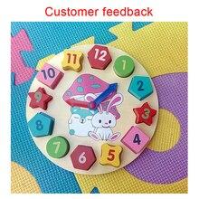 Montessori juguetes niños aprendizaje educativo temprano rompecabezas juguetes de madera colorido geometría reloj Digital matemáticas contando Juguetes