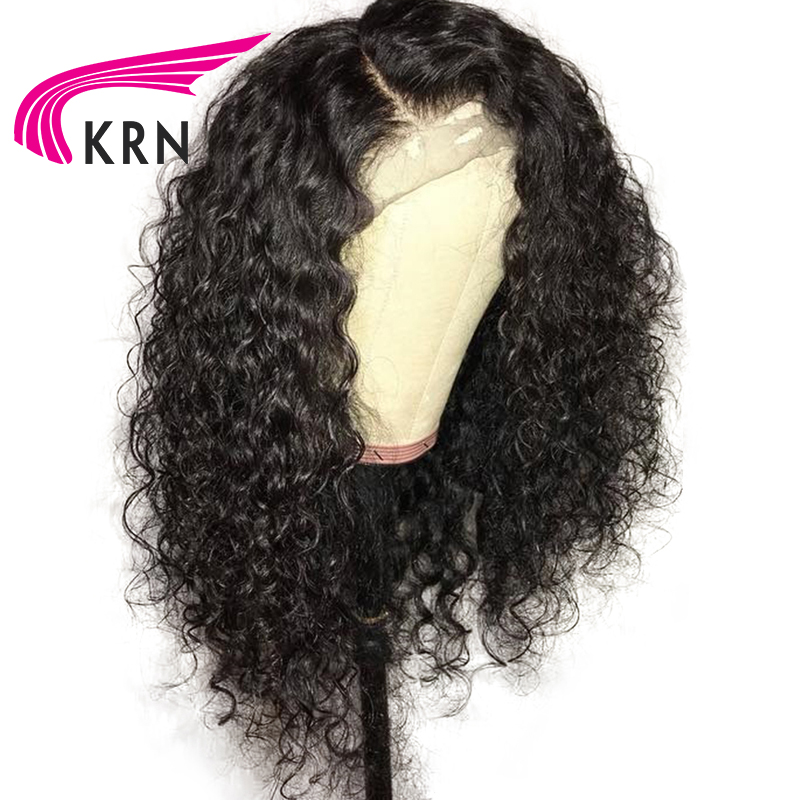 KRN Wigs Lace-Front-Wigs Human-Hair Brazilian Curly Density Pre-Plucked 13x3 with Baby