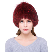 Luxury Winter Ladies' Genuine Knitted Fox Fur Beanies Hat Real Women's Fur Cap Headgear VF5045