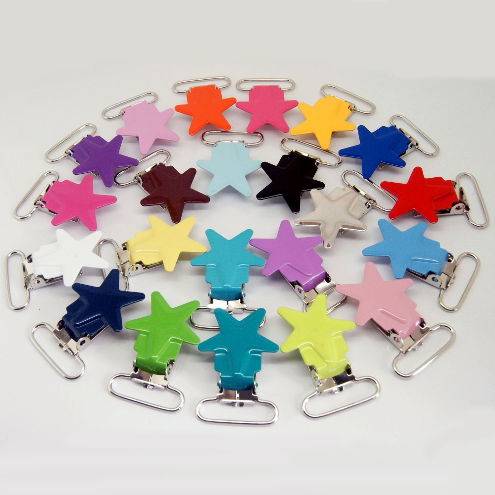 metal suspender clips 100pcs star pacifier clips mixed colors pacifier clips holder clip for baby-in Garment Clips from Home & Garden    1