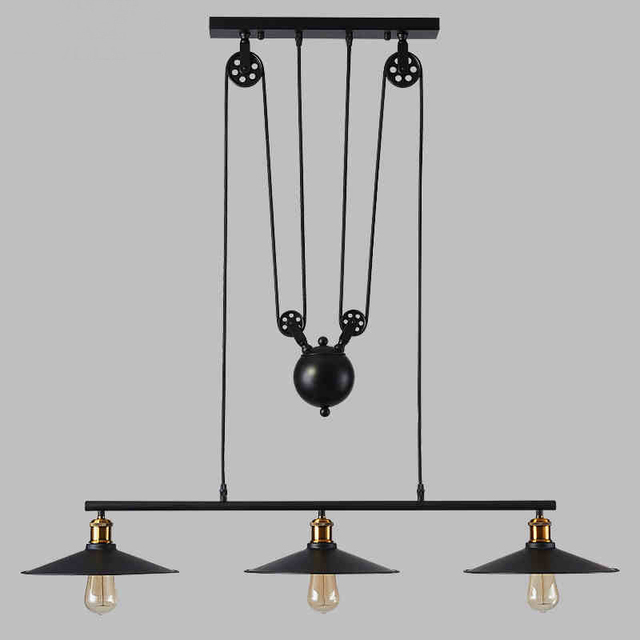 American retro loft contracted  dining-room lamp creative personality three head lamp, wrought iron bar industrial chandeliers
