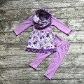 Детские зимние НАРЯДЫ для девочек 3 шт. наборы с шарфом детские девушки фиолетовый цветочный одежда девочек Осень бутик одежды твердых брюки