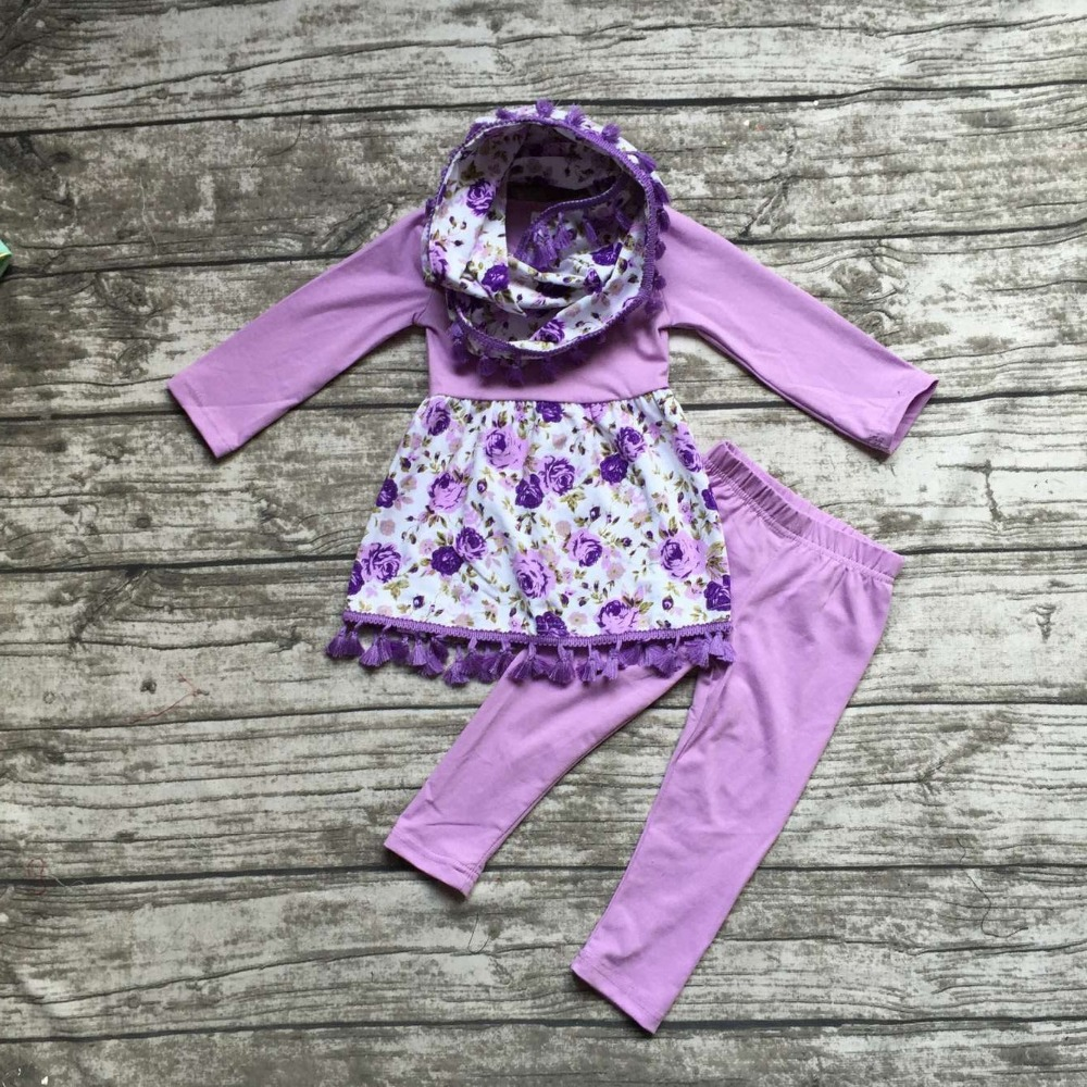 baby  winter OUTFITS girls 3 pieces sets with scarf baby girls purple floral clothing girls Fall boutique clothes solid pant frank buytendijk dealing with dilemmas where business analytics fall short