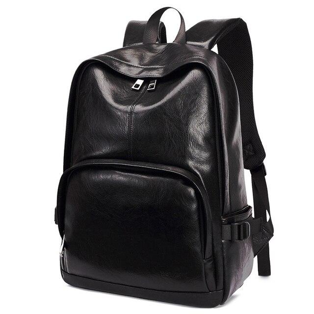 f8131047cc1 Black Coffee Plain Backpack Fashion Casual Simple Laptop Bag Men Designer  Stylish PU Zipper Packsack School Bag Daypack