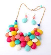 2019 New Fashion Color Drop Necklace Set Multilayer Girl For Women necklace Bohemian Summer Long