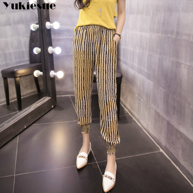 2019 summer striped printed women's   pants     capris   with high waist harem   pants   for women trousers woman   pants   female Plus size