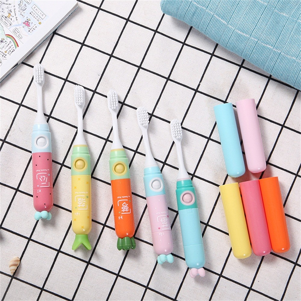 Portable Mini Cute Electric Toothbrush, Waterproof Dry Battery Powered Soft Bristle Tooth Brush Set (Random Color) image