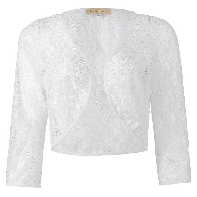 Women lace Cape Coats Three Quarter Sleeve Short Open Lace Bolero Shrug Female Jackets Ladies Cropped Basic Jacket 2