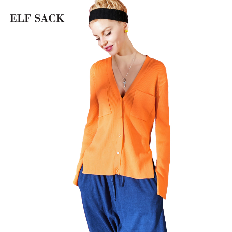 ELF SACK 2018 Spring Women Cardigans Flare Sleeve Pockets Sweaters Female Solid Loose Knit Slim V-Neck Sweaters Top Cardigan