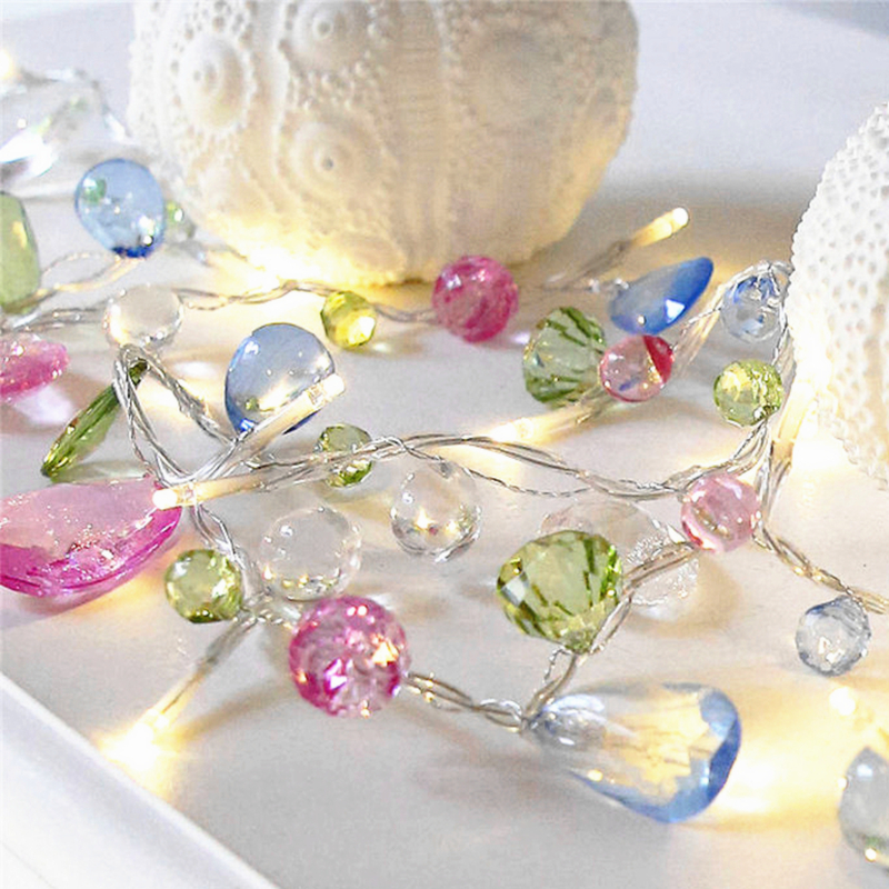 1.5M 10LED Fairy Crystal Bead String Light Christmas Tree Garland Battery Decorative Holiday Wedding Party Home Decoration Led