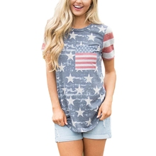 цена на KLV Womens American Flag T-Shirt Short Sleeve Patriotic Summer Casual Loose