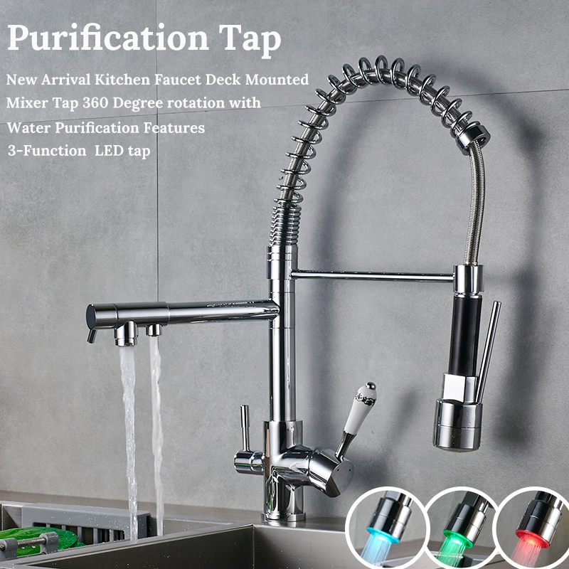 Uythner Waterfilter taps kitchen faucets Three Spout Deck Mounted Mixer Tap 360 Degree rotation Water Purification Feature Crane