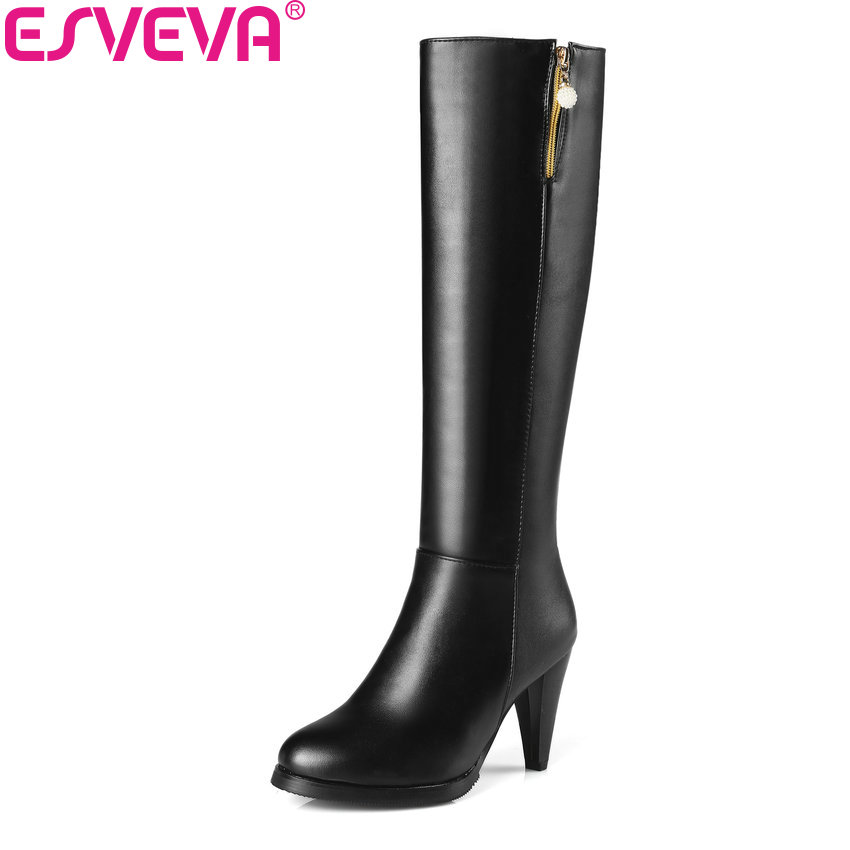 ESVEVA 2018 Women Boots Round Toe Western Style Spike High Heel Knee-high Boots Zippers Elegant Ladies Solid Boots Size 34-43 nikove 2018 women boots western style high heel over the knee boots round toe spring and autumn fashion ladies boots size 34 39