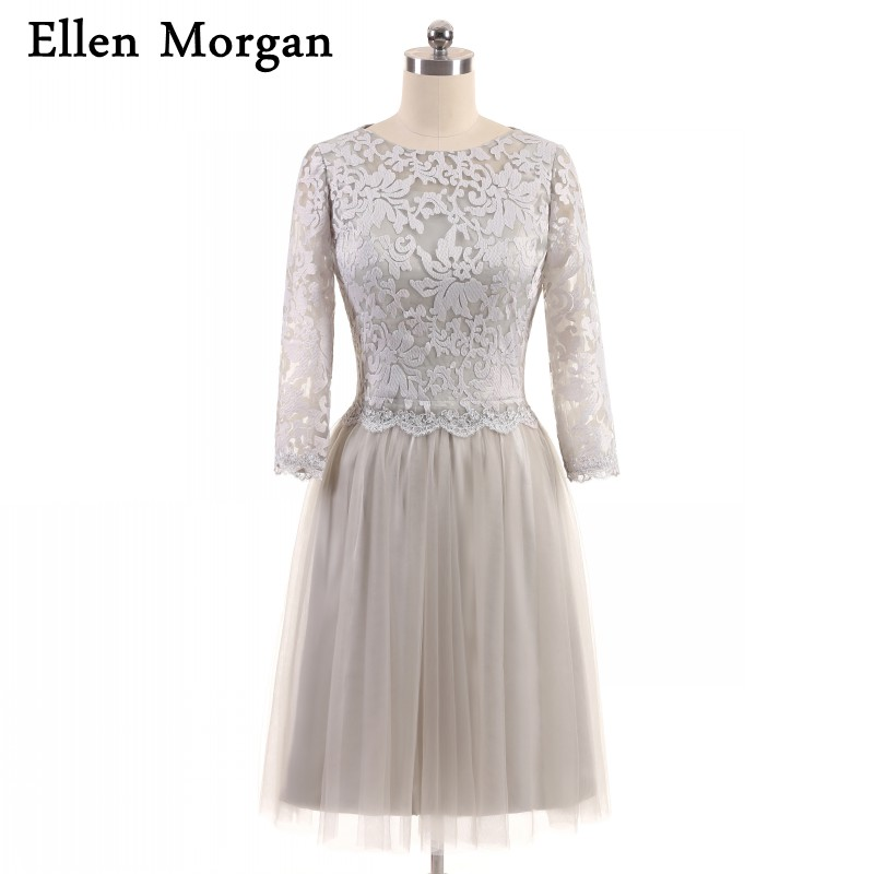 Short silver mother of the bride groom lace dresses for for Bridegroom dress for wedding