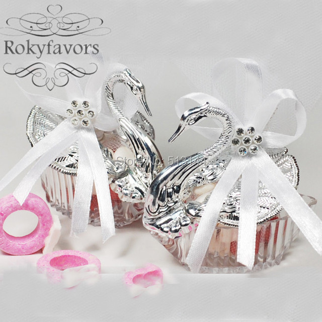 Free Shipping 100pcs Romantic Swan Favor Holder Swan Candy Boxes