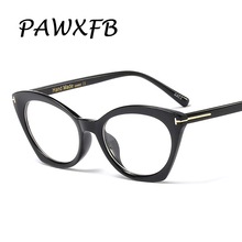 PAWXFB 2019 Fashion Rivet Cat Eye Glasses Frames Women Brand Designer Clear Lens Optical Eyewear Ladies Computer