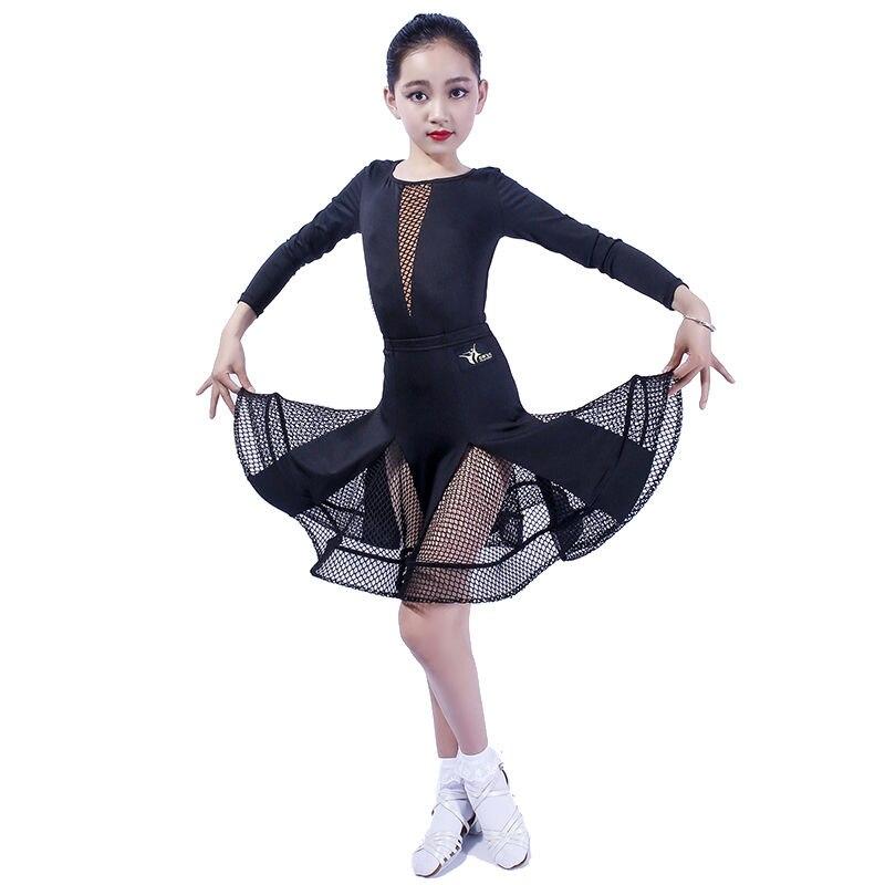 Ballroom Latin Dresses Dance Dress For Girls Salsa Dress Kids Rumba 2018 Children Spandex Samba Skirt Tango Competition Clothes