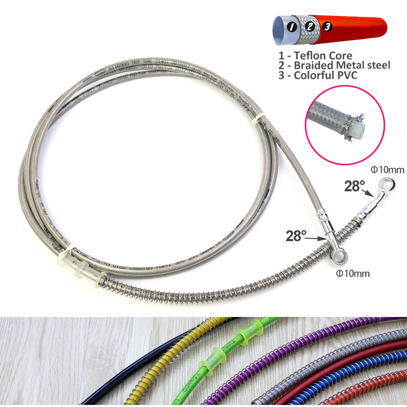 950mm 1100mm 2300mm Colorful Motorcycle Brake Hose Hydraulic Brake Clutch Oil Hose Line Pipe Fit ATV Dirt Pit Bike Motocross motoo motorcycle adelin hydraulic reinforced brake or clutch oil hose line pipe 850mm 950mm 1100mm