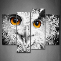 4 Panels Unframed Wall Art Pictures Owl Head Portrait Canvas Print Modern Animal Posters No Frames For Living Room Decor