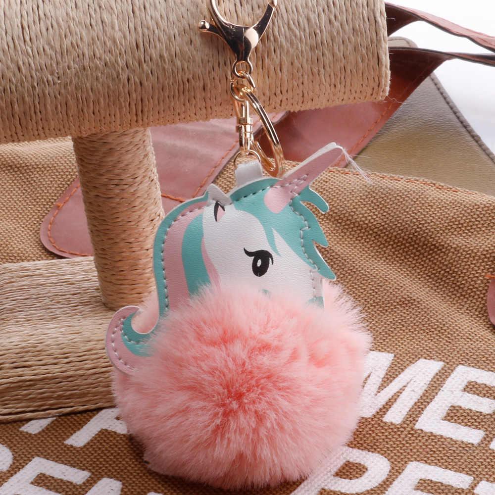 Kawaii jednorożec pluszowe zwierząt brelok puszyste futro Pom Pom dziewczyna zabawki dla dzieci wisiorek dziewczyny torba powiesić klucz wisiorek Licorne prezenty