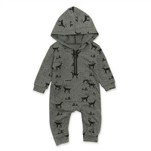 Citgeett jesień ciepłe dziecko Xmas maluch niemowlę nadruk reniferów Romper długie rękawy kombinezon z kapturem chłopiec zimowe ubrania świąteczne