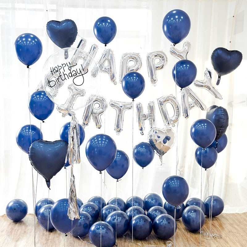 Image 3 - 10pc Birthday Latex Balloons Ink Blue And The Clear Transparent Stars Balloon Birthday Party Helium Air Balls Wedding Decoration-in Ballons & Accessories from Home & Garden