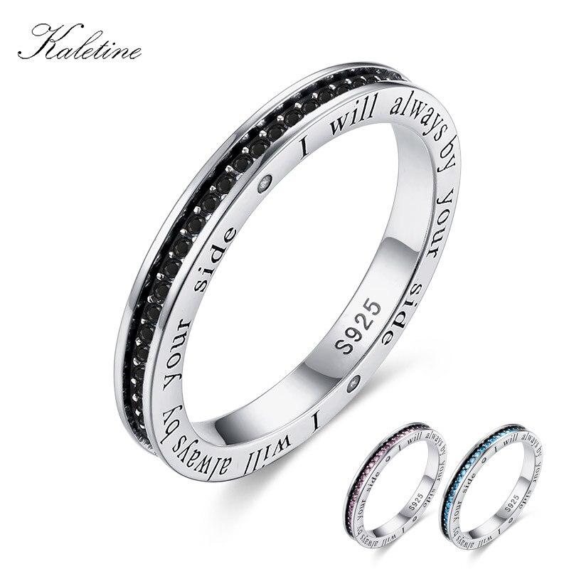 fea304865a9d KALETINE hombres auténtico colorido CZ anillo de piedras para mujeres de  plata esterlina 925 anillos de plata letras colgante Ringlet S925 joyería de  plata ...