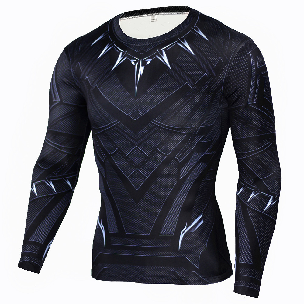 Black Panther 3D Printed T-shirts Captain America Civil War Tee Long Sleeve Cosplay Halloween Costumes Compression Tops Male