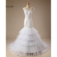 ZYLLGF African Wedding Gowns Fishtail V Neck Keyhole Back Abito Sposa Tiered Bottom Bride Dress Mermaid With Beadings Q210