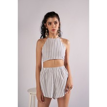 Summer Woman's Strapless Halter Shorts Striped Suit Two Piece Set Tracksuit for Women Overalls Full Survetement Jenner Femme(China)