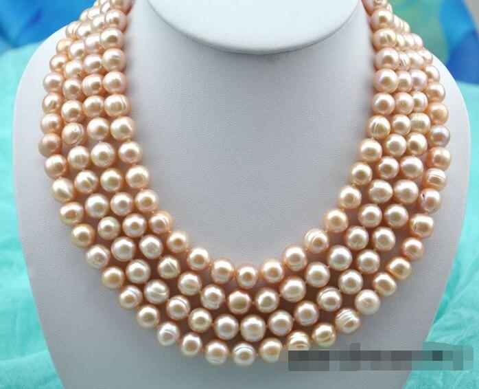 Free shipping hot sale Women Bridal Wedding Jewelry >>4strands 21 11mm round pink freshwater pearl necklaceFree shipping hot sale Women Bridal Wedding Jewelry >>4strands 21 11mm round pink freshwater pearl necklace