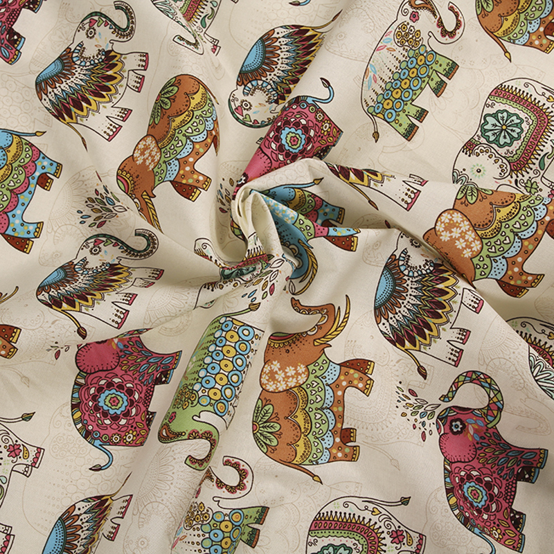 Cotton Rich Linen Look Fabric Geometric Origami Crane Birds Upholstery